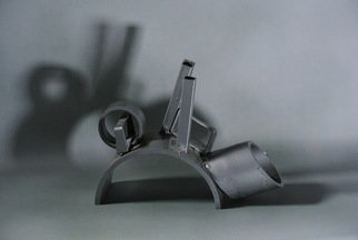 Diana Carey: 'cityscape', 2017 Steel Sculpture, Abstract. Tabletop steel sculpture. Gray. ...