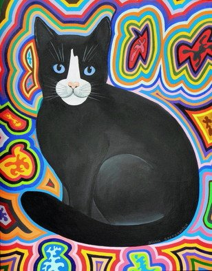 Cats Acrylic Painting by Diana Doctorovich Title: Mirada em Azul, created in 2009