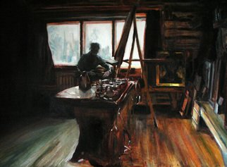 Theresa Maxwell: 'The Studio 2', 2007 Oil Painting, Interior.