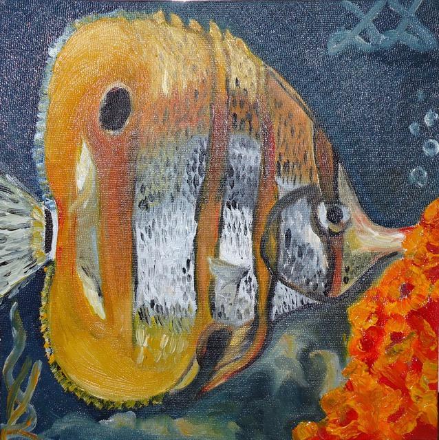Diana diamandieva artwork tropical fish original for Tropical fish painting