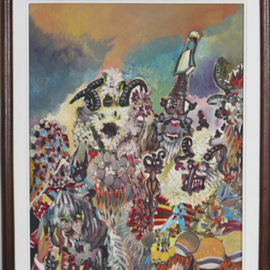 Dilyan Dochev: 'Mummery  1', 2009 Oil Painting, Clowns. Artist Description:    clowns, music, Dilyan Dochev, DiL, art, original                ...