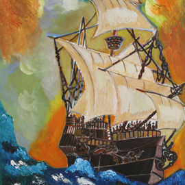 Dilyan Dochev Artwork The Ship, 2009 Oil Painting, Sailing