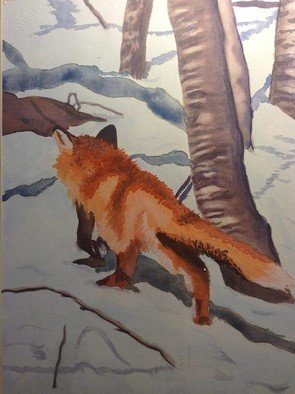 John Dimare: 'foxhunt', 2009 Watercolor, Nature. Artist Description: Water color painting of a Fox hunting in the winter. ...