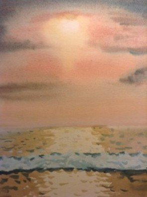 John Dimare: 'golden sunset', 2007 Watercolor, Landscape. Artist Description: Original Water Color painting of a beach view of the sunset at Laguna Beach California...
