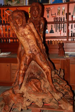 Stavros Dimitrakis: 'Adam and Eve', 2010 Wood Sculpture, undecided. Artist Description:  Sculpture commenced in 2004 and ended in 2010. Topic is