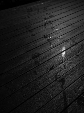 Dion Mcinnis: 'Footprints in dew', 2007 Black and White Photograph, Other.  imprints of bare feet in dew on a deck.  Print comes mounted on window mat board ...
