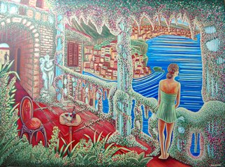 Landscape Acrylic Painting by James Dinverno Title: Amore Terrazza, created in 2010