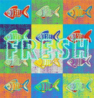 James Dinverno: 'Fresh', 2000 Mixed Media, Fish.  Mixed Media Artwork offered as a Signed Limited Edition ( 150) Giclee Canvas Print. ...