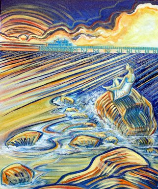 James Dinverno: 'Malibu Corona', 2010 Acrylic Painting, Seascape.  Ocean, Sunset, Beach, pier, Hermosa Beach, California, Coastline, Blue, Ocean, Waves   ...