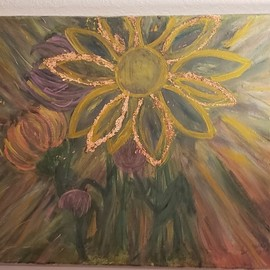 Carrie Morrison: 'ascension energies', 2019 Acrylic Painting, Floral. Artist Description: This is my frepresentyation of the incoming ascension energies during the month of September 2019.  There is copper foil guilding on some flower petals. ...