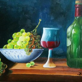 Igor Benner: 'Wine Bottle and Grapes', 2015 Oil Painting, Still Life. Artist Description:  Oil- painting  ...
