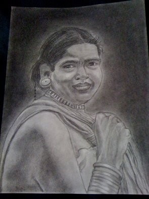 Divya Singireddy Artwork Tribal women, 2009 Charcoal Drawing, Figurative