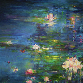 Danuta K Frydrych: 'lilies', 2010 Oil Painting, Floral.
