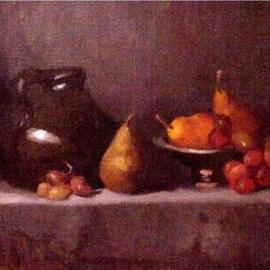 Diana K. Gibson: 'Earthenware and Fruit', 2005 Oil Painting, Still Life.