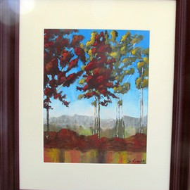 Debra Knecht: 'Summer Reflections', 2014 Acrylic Painting, Trees. Artist Description:   Trees, Red, Green, Summer,  ...