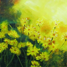 Debra Knecht: 'Sunlit Daisies', 2014 Acrylic Painting, Floral. Artist Description:  Daisies, Yellow, Green, Sunlight  ...