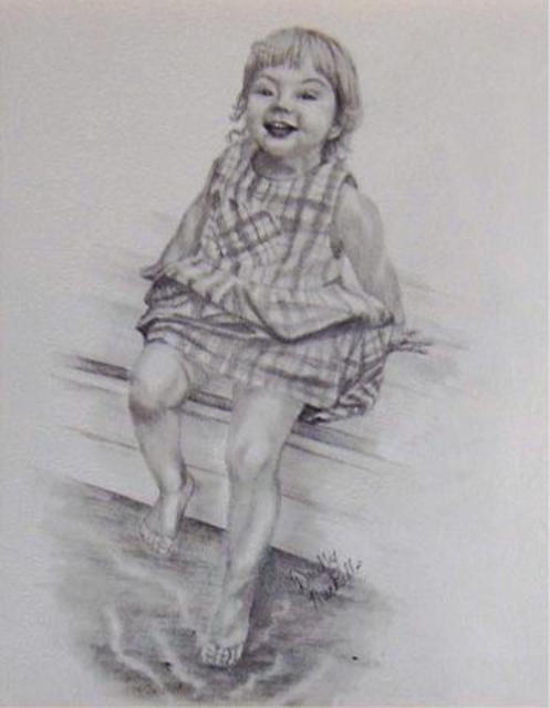 Dorothy Nuckolls  'At The Lake', created in 2003, Original Drawing Pencil.