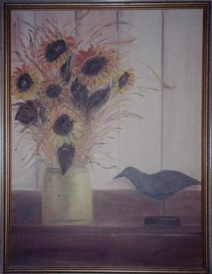 Dorothy Nuckolls: 'Sunflower Still life', 1994 Oil Painting, Still Life.  Peach, golds and browns. Two inch gold wood frame....