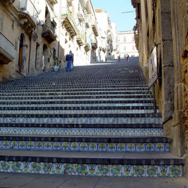 David Bechtol: 'At the top of the stairs', 2002 Color Photograph, Travel. Artist Description:  Mosiac- covered stairs leading to church at Caltagirone, Sicily ...