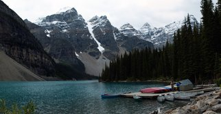 David Bechtol: 'Moraine Lake Canoes', 2013 Color Photograph, Landscape.  Photographic Panorama derived from multiple images. Part of the Canadian Rockies Series. Nikon D70. Museum- quality, Durst Lambda archival photograph mounted on Dibond Aluminum panel. UV- protective matte finish applied. Ready for hanging using the supplied cleat system. ...