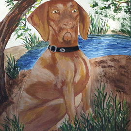 Deborah Leyva: 'Gunnar the Hunter', 2012 Acrylic Painting, Magical. Artist Description:   This commissioned work is one of the pieces of art for dogs. Prints available. See other dogs at www. zazzle. com/ dleyva08 ...