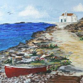 Deborah Leyva: 'Seashore in Greece', 2004 Acrylic Painting, Seascape.