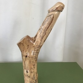 David Maranzana: 'phallic wood sculpture', 2020 Wood Sculpture, Erotic. Artist Description: Phallic sculpture of about 35 cm,  Australian artist. Aboriginal influence. Not a sex toy object but an artistic and symbolic sculpture. All worked by hand without machinery  only chisels and hand grinding. The wood is Australian olive, a very good quality wood  an oily wood  that lasts forever. ...