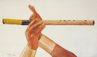 Artist: Dottie Mitchell - Title: Handmade Flute - Medium: Watercolor - Year: 2014