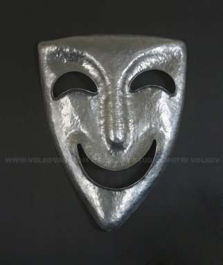 Dmitrii Volkov: 'the mask of comedy', 2019 Aluminum Sculpture, Theater. Wall Art Decor.Mask is forged of aluminum plate sheet. Weight approximately 1 lbs. Greek plays were performed wearing masks. The intent of wearing the masks was to represent different emotions, and their look was exaggerated for the audience to be able to clearly distinguish between them. Derived from Greek ...