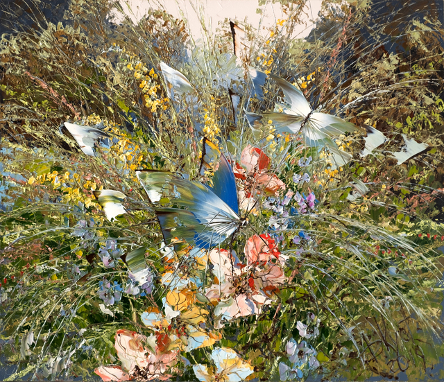 Dmitry Kustanovich  'Butterflies And Herbs', created in 2019, Original Painting Oil.