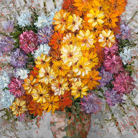 Dmitry Kustanovich: 'autumn bouquet', 2018 Oil Painting, Floral. Artist Description: Painting, Figurative Art, Impressionism, Trompe- l A