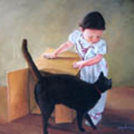 Judy Benson Artwork Out of the box, 2009 Acrylic Painting, Cats