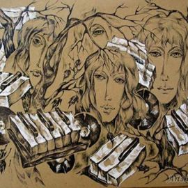 Taly Berestov: 'Quartet', 2009 Pen Drawing, Culture. Artist Description:  Music, sounds of life around us, images of zongs ...