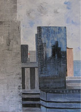 Dominique Faivre: 'toronto sky', 2020 Acrylic Painting, Landscape. Acrylic in abstract form when I was in Toronto from the hotel in the center of the city it was quite interesting took a picture and here is my painting...