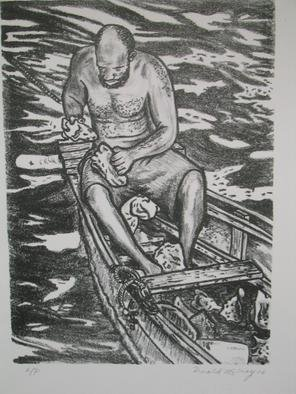 Donald Mccray: ' Shell Man', 2005 Lithograph, Seascape.