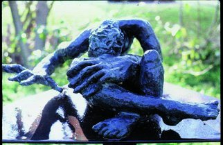 Donatella Richtman: 'doron piangie', 1985 Bronze Sculpture, Figurative. Artist Description: sad young man weaps...