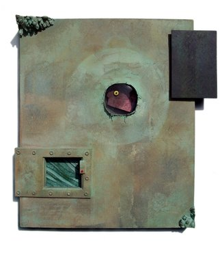 Don Dougan: 'VERDIGRIS DREAM      PEEPIN', 2011 Mixed Media Sculpture, Surrealism. stretched canvas, clear and colored glass, Virginia slate, glass eye, copper, wood, maple burl, ceramic, copper leaf, and verdigris patina ...