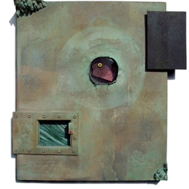 Don Dougan: 'VERDIGRIS DREAM      PEEPIN', 2011 Mixed Media Sculpture, Surrealism. Artist Description: stretched canvas, clear and colored glass, Virginia slate, glass eye, copper, wood, maple burl, ceramic, copper leaf, and verdigris patina ...