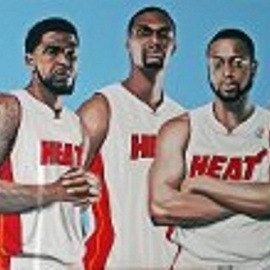 Don Hall: 'MIAMI HEAT 2013, JAMES, WADE, BOSH, HASLEM, ALLEN by DON HALL', 2013 Oil Painting, People. Artist Description:   DON HALL, PROFESSIONAL SPORTS & CELEBRITY ARTIST AT 671 WASHINGTON AVE IN SOUTH BEACH MIAM FL 33139. ORIGINAL SPORTS AND CELEBRITY PIECES AND MUSEUM QUALITY RENDITIONS OF OLD AND CONTEMPORARY MASTERS FROM DA VINCI TO PICASSO, REMBRANDT TO DALI, ANY SUBJECT ANY SIZE, CONTACT DON HALL 305 244 9657 ...