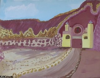 Donald Koester: 'mountain mission', 2017 Acrylic Painting, Southwestern. Artist Description: Mission, Catholic, Southwestern...
