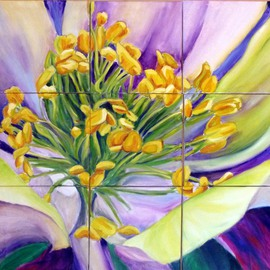 Donna Gallant: 'Calenbine', 2012 Oil Painting, Floral. Artist Description:      Internal views of florals are the inspiration in this piece.  Painted on 9 - 12 x 12