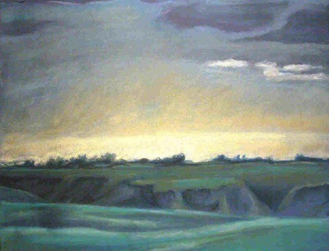 Artist Donna Gallant. 'Dusk Over The Coulees' Artwork Image, Created in 2004, Original Collage. #art #artist