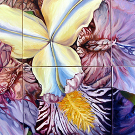 Donna Gallant: 'Iris 07', 2007 Oil Painting, Floral. Artist Description:  This painting is like a puzzle and is painted on 6 canvas panels.  It' s large and very vibrate. ...