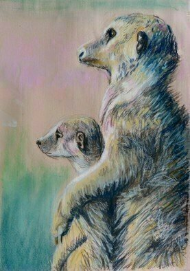 Donna Gallant: 'Mire cats', 2015 Pastel, Animals. Artist Description:           Such cute and adorable creatures.  This pastel piece reflects similarities between the animal world and the human world. ...