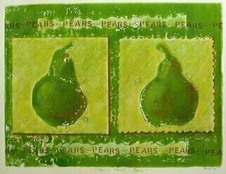 Donna Gallant: 'Pears', 2008 Monoprint, Still Life.  A pair of pears.  How fun and interesting.  Dark greens and rich textures create this image. ...