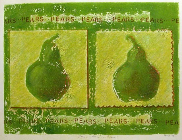 Artist Donna Gallant. 'Pears' Artwork Image, Created in 2008, Original Collage. #art #artist