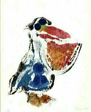 Donna Gallant: 'Pelican', 2015 Monoprint, Animals. Artist Description:            First impression are the most important and this little guy shows us exactly what I mean. ...