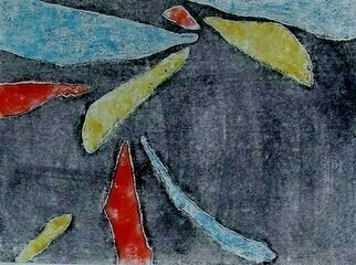Donna Gallant: 'Primary Movement 1', 2009 Monoprint, Abstract.       The primary colors are used to create this piece against a black/ grey background. ...