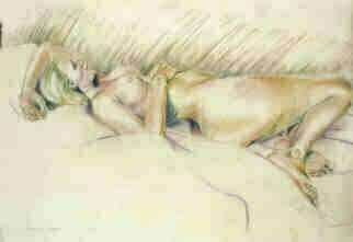 Donna Gallant: 'Reclining 2', 2003 Pastel, Figurative.  Working with a live model, this relaxing pose creates a matching mood. ...