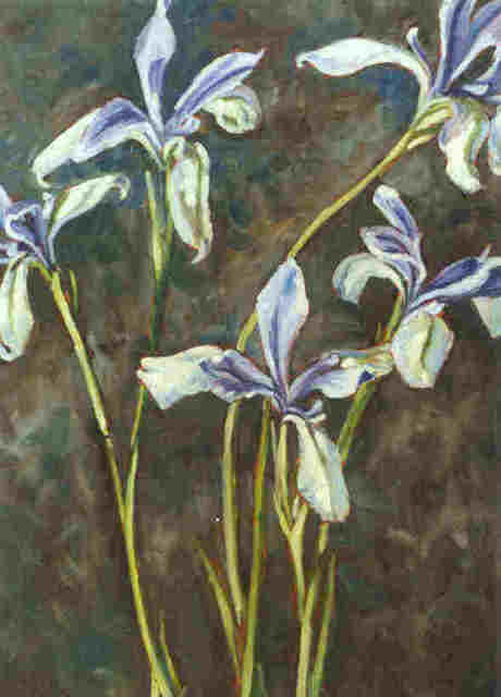 Donna Gallant  'Spring Irises', created in 2001, Original Collage.